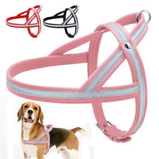 Reflective Dog Leather Harness Pet Step in Walking Vest for Medium Large Dogs