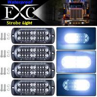 4x 20 LED White Light Emergency Warning Strobe Flashing Bar Hazard Grille 12-24V