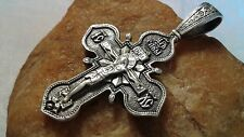 VINTAGE STERLING SILVER 925 ORTHODOX LARGE CRUCIFIX BLESSED VIRGIN MARY of KAZAN