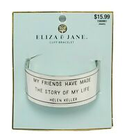 Eliza & Jane Silver Quote Cuff Bracelet Helen Keller