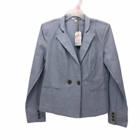 CAbi Womens size 6 Solid Wedgewood Blue Nautical Button Front Blazer Jacket NEW