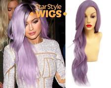 Deluxe Kylie Jenner Lunghe Argento Viola Ondulato resistente al calore Parrucca Alla Moda Colori Pastello