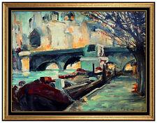 FRANCOIS GALL Original OIL PAINTING On Board Signed Paris Landscape Artwork