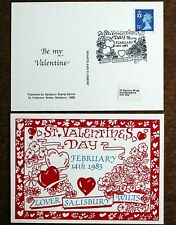 """Valentines Day Postcard – 1983 FDC on the Day at """"Lover, Wiltshire"""" (SE3)"""
