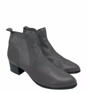 Nine West Women's Rhodes Gray Leather Booties Shoes Size 12 Boots Slip On