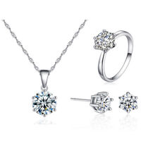 Women Crystal Cubic Zircon Jewelry Set Necklace Earrings Ring Sets Wedding Gifts