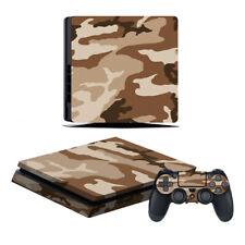 Playstation 4 Slim Konsole Designfolie Skin Schutzfolie Camouflage Braun Beige