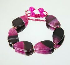 Lola Rose 26cm Cordelia Tumble Bracelet Chocolate Pink Agate + Gift Pouch