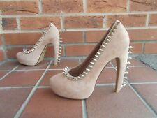 Sexy JEFFREY CAMPBELL Nude Suede Studded Stiletto Platform Shoes * s6 uk * New