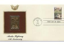 1992 Alaska Highway 50th Anniversary 22 kt Gold Stamp FDC Golden Cover Replica