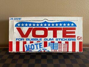 RARE 1972 Donruss VOTE Bubble Gum Stickers FULL BOX - 24 Sealed 5 Cent Packs!