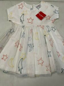 NWT HANNA ANDERSSON TULLED EMBROIDERED SS IVORY DRESS GIRLS 110 5  $56