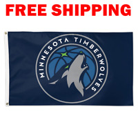 Deluxe Minnesota Timberwolves Logo Flag 2018 NBA Basketball Fan Banner 3X5 ft