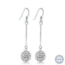 925 Sterling Silver earring CZ Cubic Zirconia clear crystal DLE93