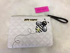 NEW! Betsey Johnson Bumble  Bee Handbag Wristlet Small Tablet Pouch  Jeweled