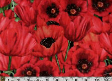 """PRE CUT 31"""" X 21"""" BLANK TEXTILES OUT OF PRINT RED POPPIES COTTON BOLT END FABRIC"""