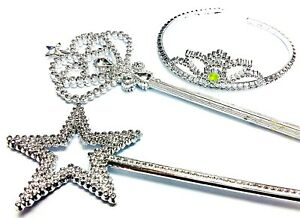 1 set Costume Fairy Princess Queen SILVER Magic Wand Scepter CROWN Tiara PARTY