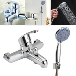 Modern Bathroom Chrome Sink Bath Filler Tap Shower Mixer Taps with Handset Hose