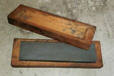 Vintage Knife Sharpening Stone In Wooden Box