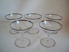 VINTAGE CRYSTAL 5 GOBLETS SILVER OR PLATINUM TRIM WITH LOGO