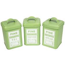 Retro Green Enamel Tea Coffee Sugar Tins Kitchen Storage Containers Jars Pots