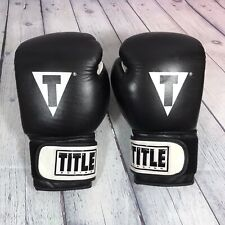 Title Boxing Gloves Genuine Leather Black White 16 oz Large / Fitness Training