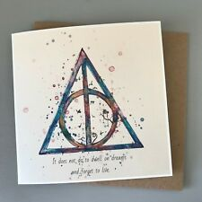 Deathly Hallows Illustrated Harry Potter Greetings Card Gift UK