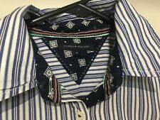Tommy Hilfiger Navy Blue White Stripe Long Sleeve Business Shirt Button Down 4
