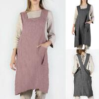 Women Cotton Linen Stripe Pinafore Square Cross Apron Garden Work Pinafore Dress