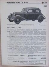 * Mercedes Benz 170 V 1950 Datenblatt  original *
