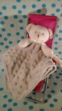 Blankets & Beyond Baby Boy Security Blanket Gray White cream Bear lovey minky