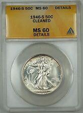 1946-S Walking Liberty Silver Half Dollar Coin, ANACS MS-60 Details, Very Choice