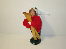 Byers Choice Retired 1995 Boy with Red Knit Sweater Plaid Knickers with Skis
