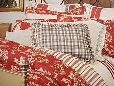 FULL - Chaps 4-pc French Riviera Brick Floral/Stripe BEDSKIRT SHAM & COMFORTER