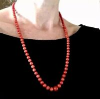 29g! Long 18k RED no dye natural coral beads 18k solid gold necklace 珊瑚