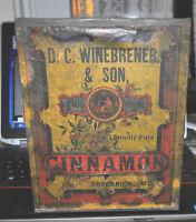 Frederick, MD 1800s Store Advertising Counter Display Tin Winebrener Cinnamon NR