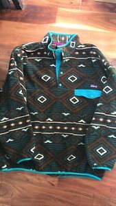 Vtg Patagonia Snap T Synchilla Aztec Geometric Pullover Fleece - Size XL