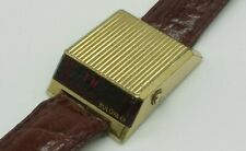 Vintage Rare Bulova COMPUTRON Drivers Red LED Digital Watch Gold Tone Cell 228