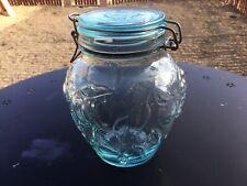 Vintage Hermetic Green Canister Jar Fruit Embossed Wire Seal Jar