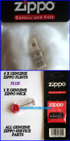 1 X ZIPPO COTTON LIGHTER WADDING FELT 1 x WICK 6 X FLINTS GENUINE SERVICE PARTS