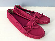 NEW Constananha Pink Leather Driving Moc Loafer 32 women 6 *