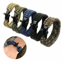 Outdoor Hiking Camping Cord Umbrella Men Bracelet With Whistle Survival Tool