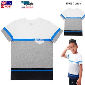 TaiMoon Kids Boys T Shirt 100% Cotton Summer Short Sleeve Tops Soft Tee T-Shirts