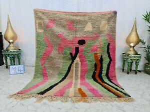"Moroccan Vintage Handmade Boujad Rug 5'x6'1"" Abstract Green Pink Berber Wool Rug"
