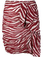 ISABEL MARANT ETOILE Red and White Zebra Print Ruched Skirt. FR 38/UK 10