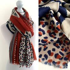 Large Leopard Print Scarf Orange Rust Animal Big Long Cotton Shawl Wrap Pashmina