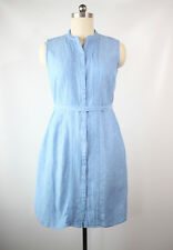 l.l.bean size 14 pintucked sky blue linen shirt dress pristine condition!