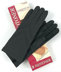 Isotoner Stretch Classics Gloves Black Fleece Lined Leather Palm Water Repel OS