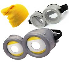 Minion Figures Circular Goggles Glasses + Kids Adult Yellow Beanie Hat Unisex