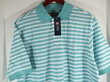 NWT Chaps Men's SS Polo LT Knit Green Striped Large &Tall 100% Cotton